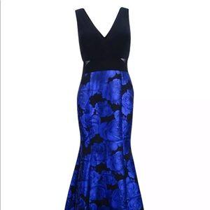 Xscape 8P OffShoulder blackBlueFloral Mermaid Gown